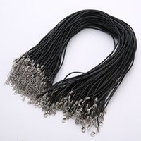 Black Real Leather Cord Chain 50pcs lot 2mm chain Choker Nec...
