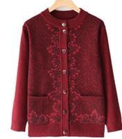 f06fea35637 Livre enviar novo estilo Médio e velhice primavera e outono camisola casaco cardigan  mulheres