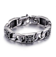 Punk Rock Skull Skeleton Bracelet Men 316L Stainless Steel M...
