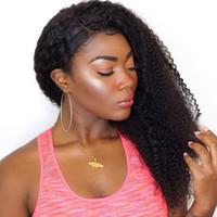 Siyah Kadınlar için brezilyalı Afro Kinky Kıvırcık İnsan Saç Peruk Toptan Brezilyalı Tutkalsız Dantel Ön İnsan Saç Peruk Bebek Saç ile