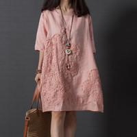 여자를위한 2018의 복장은 좋은 품질 린넨면 짧은 소매 느슨한 복장, 여자 플러스 크기 줄무늬 패치 워크 캐주얼 드레스 여름 드레스