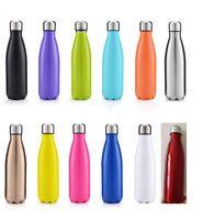 Yeni 500 ml 17 oz Cola Şekilli Spor su şişesi Vakum Yalıtımlı Seyahat Su Şişesi Çift Cidarlı Paslanmaz Çelik Vakum Şişe kok şekli