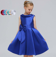 2018 New kids girls dresses Europe Style Beaded Bow Backless...