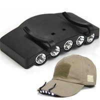 Wholesale- High Quality Ultra Bright 5 LED Clip On Cap Light...