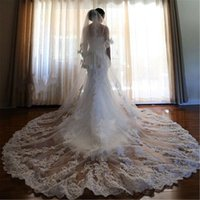 2018 Two Layer Wedding Veils 3 Meters Long Cathedral Length ...