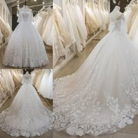 Latest A- Line Wedding Dresses Lace Beaded Appliques Sexy Bac...