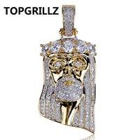 TOPGRILLZ 힙합 새 패션 골드 컬러 도금 된 빅 CZ 스톤 마스크 예수 얼굴 펜 던 트 목걸이 크리스탈 세 가지 유형