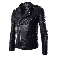 Men' s Leather Jacket Fashion Coat Biker Jacket Homme Ja...
