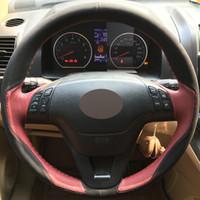 DIY El-dikişli Araba Direksiyon Kapağı Siyah Süet Şarap Kırmızı Deri Honda CRV için 2007-2011