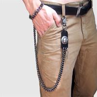 Mens preta arma extra longa carteira correntes grossas metal cubano links Chaveiro de couro preto Calças de crânio Calça Biker Chain -70cm