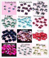 300pcs 16 Farbe 6 * 6mm Shiny-Quadrat-Glaskristallfesthalten quadratischer Kristallflatback Charme-Korne für DIY Schmucksachen, die