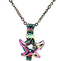 C58 Rainbow Color Star Fly Beads Cage Ciondolo Ciondolo collana di olio essenziale diffusore aromaterapia perla ciondolo medaglione