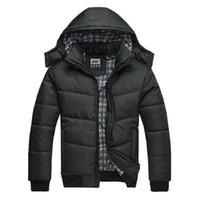 giacca invernale trapuntata nera piumino cappotto caldo moda maschile soprabito parka outwear poliestere imbottito con cappuccio cappotto invernale