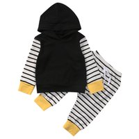 Newborn Baby Boy Girl Tops Hoodies Striped Pants Black Long Sleeve Leggings Outfits Set Clothes UK