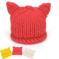 新しい手作りニットかわいい赤ちゃん女の子の少年冬の帽子猫の耳の素敵な漫画デザインの赤ん坊の帽子かわいいパターンの帽子