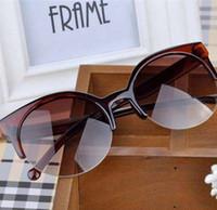 KLASSNUM Vintage Kedi Göz Güneş Gözlüğü Süper Yuvarlak Daire Kadınlar Yarı Çerçevesiz Güneş Gözlükleri Retro
