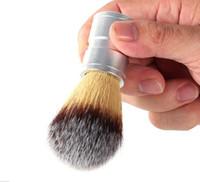 الرجال فرشاة الحلاقة فو الشعر الألومنيوم مقبض الفضة حلاقة صالون الحلاقة فرشاة الوجه اللحية الشارب تنظيف فرشاة الحلاقة أداة