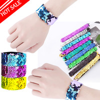 Girl Slap Bracelets Mermaid Sequin Wristband Doble Colores Glitter Slap Bracelet Kids Party favores 21 diseños opcionales 2018 caliente