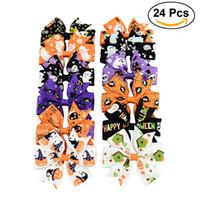 24 piezas Holiday Ribbon Bow Alligator Halloween Bowknot Hair Clip para niños Halloween Accesorios para el cabello Horquilla Grosgrain Ghost Pinwheel Gift