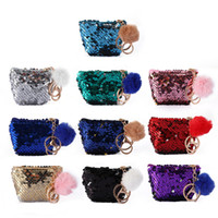 NEW Mermaid Sequin Key Chain Coin Purses With Cute Plush Bal...