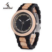 2019 novo BOBO BIRD luxo de alta qualidade dos homens relógio de madeira relógio de madeira de mogno de ébano de pinho de duas cores de madeira moda lazer relógio de quartzo