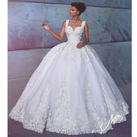 Gorgeous Arabic Backless Ball Gown Wedding Dresses Beaded La...