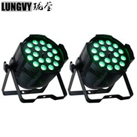 2 pz / lotto 18x18w 6in1 RGBWA Zoom Zoom LED PAR LED PARD PAR Can per DJ Party Stage Lighting Sound Party Equipment
