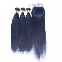 منتج جديد حريري مستقيم لحمة الشعر حزم مع إغلاق الرباط 4x4 اللون الأزرق شعرة الإنسان ينسج مع أعلى إغلاق 4PCS لوط