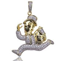 Хип-Хоп Ледяной Монополия Человек Доллар Мешок Денег Кулон Ожерелье С Бесплатной Веревкой Цепи Мужчины Женщины Ювелирные Изделия