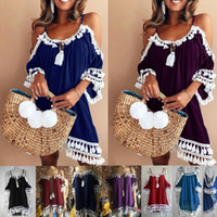 2018 Summer Women Sexy Lace Tassel Casual Off Shoulder Strap...