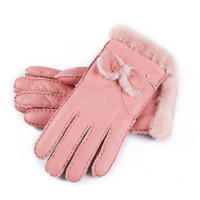 Бесплатная Доставка Новые Дамы Бантом Высокое Качество Кожаные Перчатки Шерстяные Перчатки Гарантия Качества