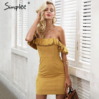 Simplee Off Shoulder ruffle backless suede dresses Women sex...