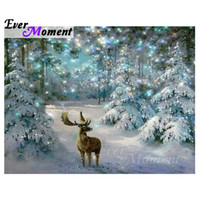 Ever Moment 5D Pittura Diamante DIY Deer Elk Diamante Mosaico Immagine Di Strass Alberi Di Natale Regalo Home Decor ASF1053 Y18102009