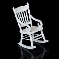 1 12 Miniature Dollhouse Wooden Rocking Chair Model White Re...
