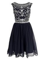 Robes de soirée de bal de bal courte robe de soirée une ligne pure cou dos nu marine perles bleu marine cristaux robe de soirée cocktail en mousseline de soie