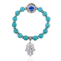Natural stone bracelets 2018 new fashion 10mm Beads personality turquoise Bracelets bangle for women Jewelry Fashion Wholesale free shipping