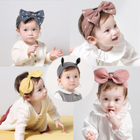 Baby Bowknot Bunny Ears Headband Wave Point Turban Infant Toddler Kid Accesorios para el cabello Sombrero de algodón 6 colores