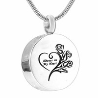 Fashion jewelry Always in my heart Cremation Jewelry round H...