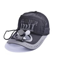 mrwonder Mujeres Hombres Ventilador de Color Sólido Cooling USB Charge Fishing Sombrilla Baseball Golf Cap Hat con letras