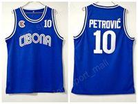 Kolej 10 Drazen Petrovic Jersey Erkekler Basketbol Üniversitesi Cibona Zagreb Formalar Takımı Mavi Spor En Kaliteli