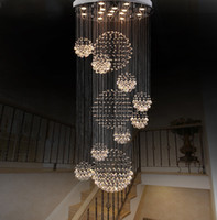 Lampadario moderno Grande luce di cristallo per scale Lobby Scale Foyer Long Spiral Lustre Lampada da soffitto Flush Mounted Scale Light