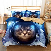 3D Art Design for Kids Space Cat Bedding Set 3pcs Duvet Cove...