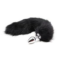Black Faux Fox Tail Butt Anal Plug Métal Drôle Adult Sex Toys Pour Femme Produits Érotiques Flirt Pour Jeux Adultes