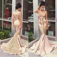 Сексуальная румяна розовый атлас Русалка V шеи вечернее платье с золотой кружева аппликации Бесплатная доставка высокое качество вечернее платье