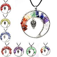 7 차크라 석영 자연의 돌 생활의 나무 올빼미 목걸이 여러 가지 빛깔의 펜던트의 매력 패션 쥬얼리