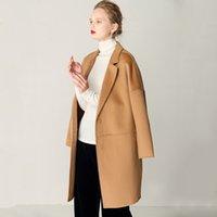 2020 Manteaux en laine Femmes Mesdames Camel Camel Manteaux Encoline à côtés d'un seul hiver Couches chaudes hivernales
