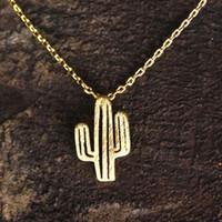 Bohemio Mujeres Niñas Desierto Cactus Colgante Collares Accesorios de Joyería de Cadena de Moda Cadena Gargantilla Collar Regalos de Cumpleaños Bijoux