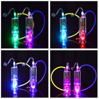 "LED Glass Water Pipes Bong 6. 3"" inch Double Recycler Oi..."
