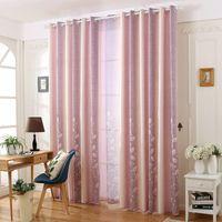 Estilo moderno de algodón de lino Blackout cortina hojas Priented púrpura / verde tela para adultos niño sala de estar dormitorio decoración