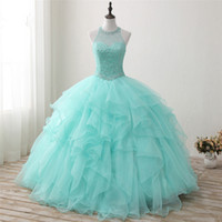 2018 nuevo llegado Real Photo Sexy Backless Crystal Ball vestido Quinceanera con rebordear Sweet 16 vestido Vestido Debutante vestidos BQ126